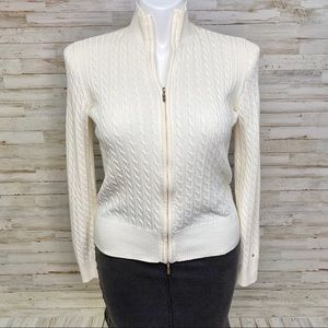 Tommy Hilfiger Cable Knit Zip Up Cream Cardigan L